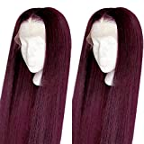 Giannay Hair Ombre Burgundy Lace Front Wigs 99j Synthetic Wig Two Tone Wine Red Wigs for Black Women Dark Roots Red Lace Wig Long Straight Wigs 24 Inch Pre Plucked Baby Hair Heat Resistant