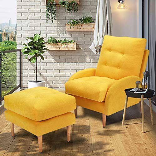 Esright Sofa Chair with Ottoman, Yellow Fabric Lounge Recliner Chair with Adjustable Backrest, Yellow