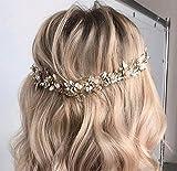 Fashband Diadema de flores para novia, para novia, novia, pelo con hojas plateadas, accesorios para el cabello, perlas de cristal, para mujeres y niñas