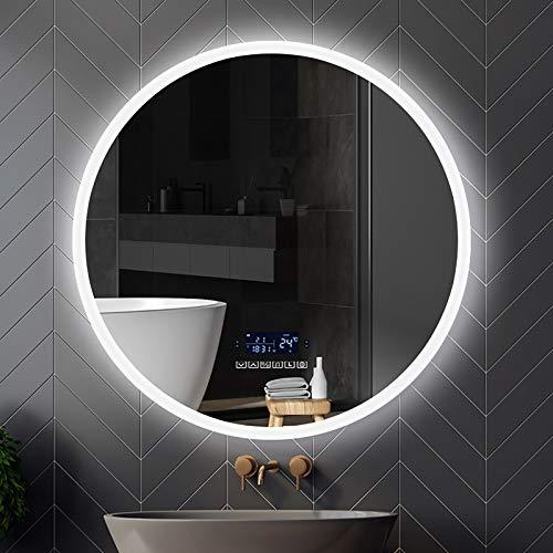 GETZ Espejo de Baño Redondo con Iluminación LED, Antiniebla Espejo de Tocador Inteligente para Baño con LED, Función de Atenuación de 3 Colores, Brillo Ajustable, Altavoz Bluetooth