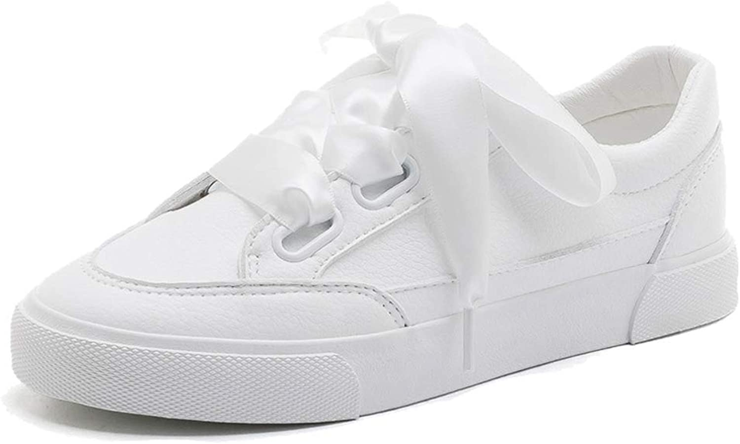 Sweet PU Leather White Flat Low Cut shoes Fashion Casual Lace Up Sneakers