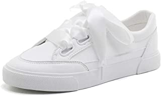 Sweet PU Leather White Flat Low Cut Shoes Fashion Casual Lace Up Sneakers (Color : White, Size : 35)
