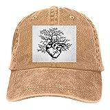 Gorra de béisbol con diseño de corazón humano que florece con hojas de árbol, para hombre y mujer