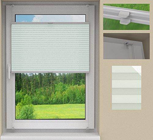 SUNLUX24 Plissee Cosimo auf Maß / Stoff:Grau Perlex(PLB045) / Systemfarbe: Weiß /Montage: Auf dem Rahmen mittels Klemmträger (ohne Bohren) / Breite 70,1 bis 80cm x Höhe 210,1 bis 220cm