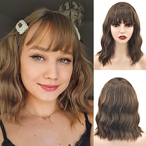 LANSE Peluca ondulada rizada marrón con flequillo de aire Peluca corta de Bob para mujer Longitud del hombro Peluca de cosplay sintética de para niña Pelucas personalizadas