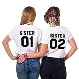 Mejores Amigas Camiseta Best Friend T-Shirt 2 Piezas 100% Algodón Impresión Sister 01 02 Camisa...