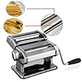 Pasta Maker Machine Stainless Steel Pasta Roller Machine Includes Pasta Cutter Hand Crank Lasagna Fresh Noodles for Home Kitchen (White)