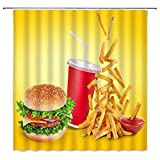 N\A Cibo Tenda da Doccia KFC Burger Patatine Fritte Salsa Dolce Bevanda Tessuto per Bambini Tenda da Bagno con Ganci, Giallo