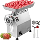 Happybuy Commercial Meat Grinder 770lbs/h Electric Sausage Maker 2200W Stainless Steel With 2 Grinding Heads & 2 Blades For Restaurants, Supermarkets, Fast Food Stores, Butcher Shops
