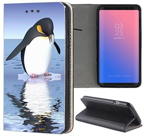 KX-Mobile - Custodia per Samsung Galaxy J5 2016, in ecopelle, motivo 1138, motivo: pinguino, colore: Blu e Nero