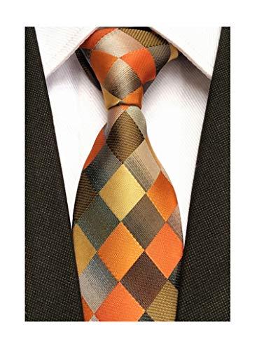 Men Yellow Orange Grey Plaid Silk Ties Checks Fashionable Colorfu Autumn Necktie