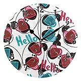 Jumbear - Orologio da parete a forma di cuore, con numeri arabi, silenzioso, funzionamento a batteria, motivo: Hello Panda