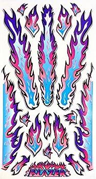 Rad Decalz - Blazer - Neon Blue Pink and Purple Flames - 18 Sticker Decal Set