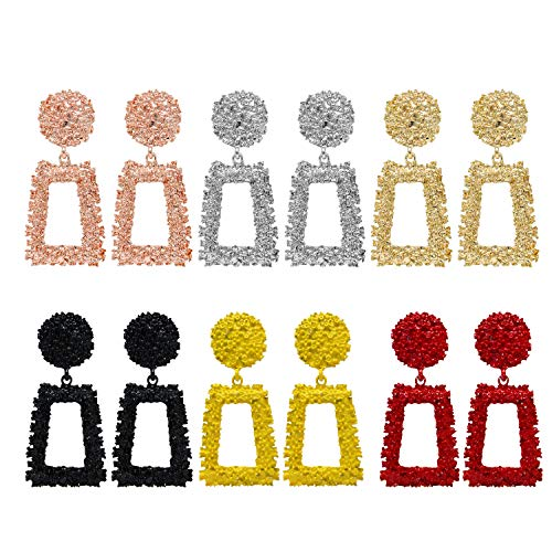 6 Pairs Rose Gold/Silver Raised Design Statement Earrings Geometric Dangle Earrings for Women Girls