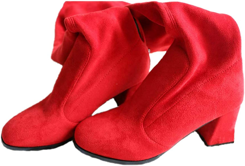 Knee High shoes for Women Fashion Platform Zipper All Match Square High Heel Winter Girls Boots