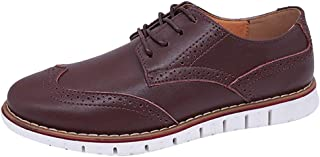 LUKALUKADA Summer Men's Business Shoes Men's Casual Brock Shoes Breathable Flat Leather Shoes