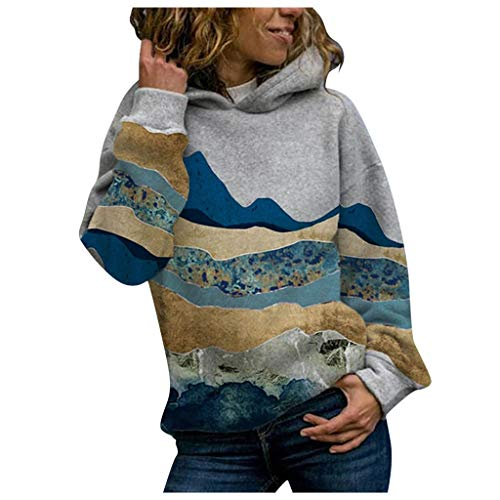 Sauahy Ladies Tops for Womens Mountain Printed Pullovers Long Sleeve Plus Size Sweatshirt Casual Fashion Elegant Hooded