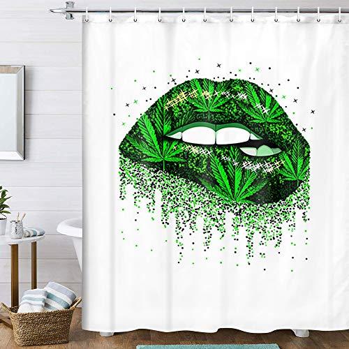 Duschvorhang mit Mädchen-Lippen, grünes Cannabis-Weed-Blatt, Frauen-Duschvorhang, sexy Lippen, Marihuana-Blatt, Hanfblatt, Hippe-Duschvorhang, Stoff, Badezimmer-Vorhang mit Haken (170 x 178 cm)