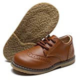 Timatego Toddler Boys Girls Oxford Shoes PU Leather Lace Up School Loafer Flats Baby Infant Uniform Dress Shoes(Toddler/Little Kid) 6 Toddler, 01 Brown