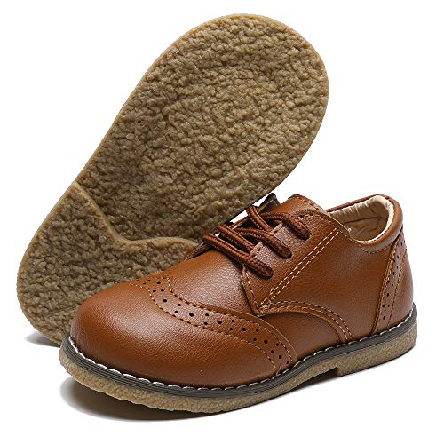 CCTWINS KIDS Toddler Little Kid Girl Boy Dress Oxford Leather Shoe(G9771-brown-21)