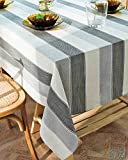 Deep Dream Tablecloths, Dyed Stripe Table Cloth Cotton Linen Wrinkle Free Anti-Fading Table Cover Decoration for Kitchen Dinning Party, 55 x 70 Inch - White & Gray