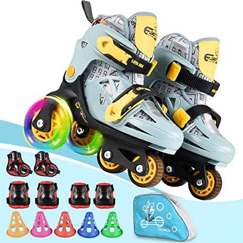 Patines de ruedas para niños, con tamaño ajustable y doble freno y ruedas luminosas y equipo protector, 3 puntos de equilibrio para principiantes, para interiores y exteriores (gris valiente, XS)