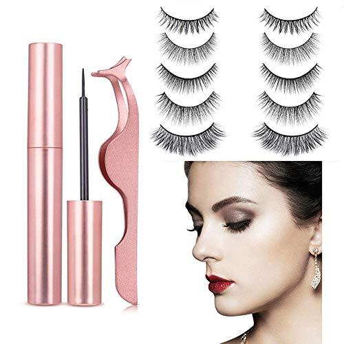Cils magnétiques, Eyeliner magnétique et Lashes, Faux Cils 5 paires réutilisables 3D Handmade épais naturel Faux cils imperméable,B