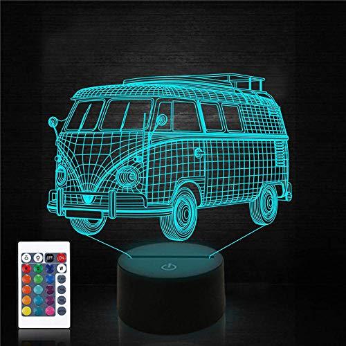 Lámpara de noche con ilusión 3D para coche, luz nocturna para niños, 16 colores cambiantes para mamá, regalo de cumpleaños, regalos de boda, regalos de abuela, regalo de San Valentín