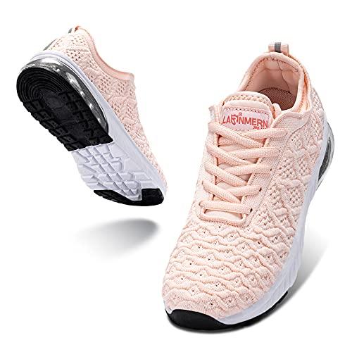LARNMERN PLUS Mujer Zapatos Colchón Aire Sneakers Respirable Calzado Rosa 39