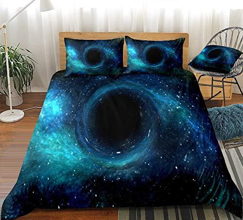 Prinbag Galaxy Bettwäsche Set Schwarzes Loch Bettbezug Set Blau Sternenhimmel Bettwäsche Kinder Erwachsene Mikrofaser Heimtextilien 135x200cm