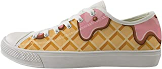 Owaheson Lace-up Sneaker Training Shoe Mens Womens Waffle Plaid Pattern Print
