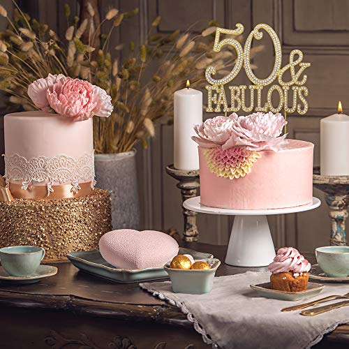 Superb Premium Metal 50 And Fabulous Rhinestone Gem Cake Topper 50Th Funny Birthday Cards Online Overcheapnameinfo