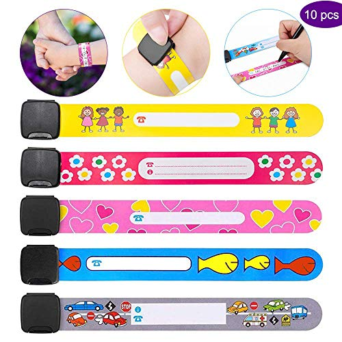 Yillsen Child ID Wristband,Safety Armband Waterproof Anti Lost ID Bracelet Reusable SOS Bracelet for Boys and Girls