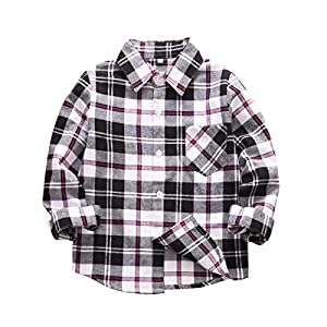 Kids Little Baby Boys Plaid Shirts Flannel Button Down Shirt Long Sleeve Top Plaid Christmas Outfits Fall Winter Clothes