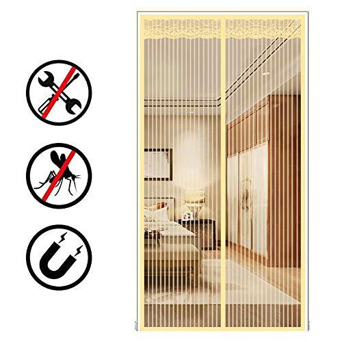 Power Magnetic Screen Außentür mit Hochleistungs-Bug-Mesh-Vorhang, Vollrahmenhaken Gelbes Netz Keine Lücke Lässt frische Luft herein, 95X210cm