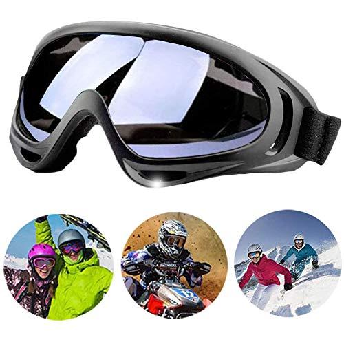 ZNEU Motorradbrillen Goggle - Anti Winddichter UV-Schutz Verstellbarer Skibrille Helmkompatible Fahrrad Sportbrille für Skifahren Skaten Draussen Radfahren (Grau)