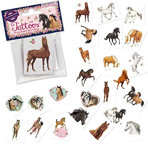 24 Tattoos * Pferde * als Mitgebsel und Spiel für Kinder   47320   Tapirella Pony Fohlen Sticker Tattoo Kindertattoo Kindergeburtstag Geburtstag