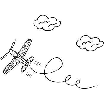 Amazon Com Cute Cartoon Airplane Art Black Vinyl Decal For 13