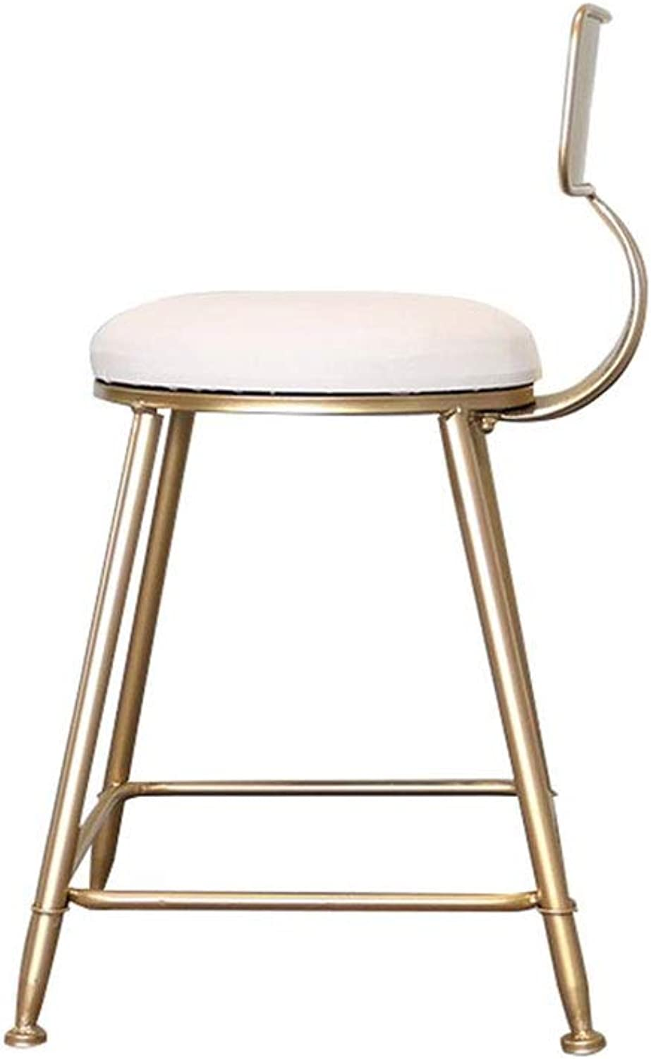 LQQGXL Nordic Wrought Iron bar Stool, Simple Home Chair Creative Dining Chair, (color   White, Size   45CM)