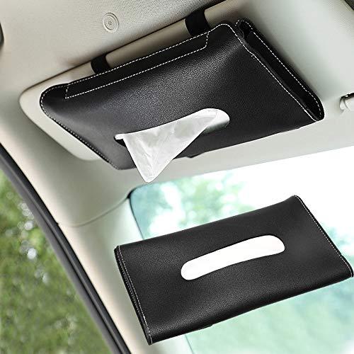 zeBrush Car Tissue Holder, Leather Car Visor Tissue Holder Seatback Tissue Case Paper Storage Cases for Universal Auto Vehicle