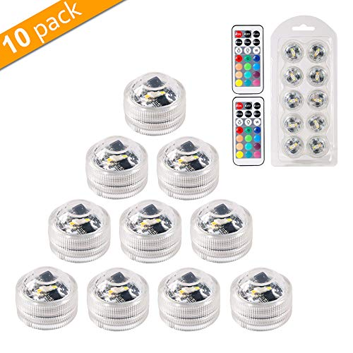 MAVIE 10 pcs 13 Farben Mini Unterwasser Teelicht LED Kerzenlicht mit 2 Fernbedienung für Hochzeit/Geburtstagsfeier/Festivalfeier/Vase/Badewanne/Aquarium