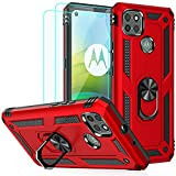 Moto G9 Power Case, Motorola G9 Power Case, with HD Screen Protectors, Androgate Military-Grade Metal Ring Kickstand 15ft Drop Tested Shockproof Cover Case Red