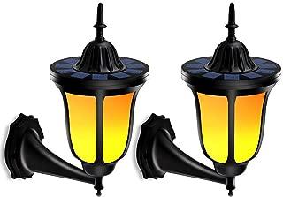 TomCare Solar Lights Solar Torches Lights Flickering Flames Wall Lights 96 LED Solar Wall Lights Outdoor Lighting Wireless Waterproof Wall Mounted Night Lights Lantern Design for Door Patio Yard(2)