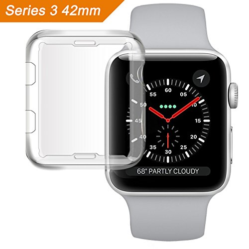 Apple Watch Series 3 Case, MCUK iwatch 3 TPU Screen Protector All-around Protective 0.3mm HD Clear Ultra-thin Bumper Cover for 2017 New Apple Watch Series 3 (42mm)