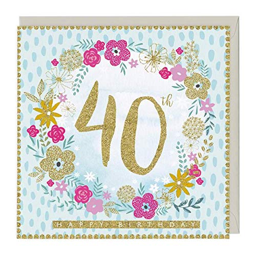 Floral 40th Birthday Card, printed in the UK