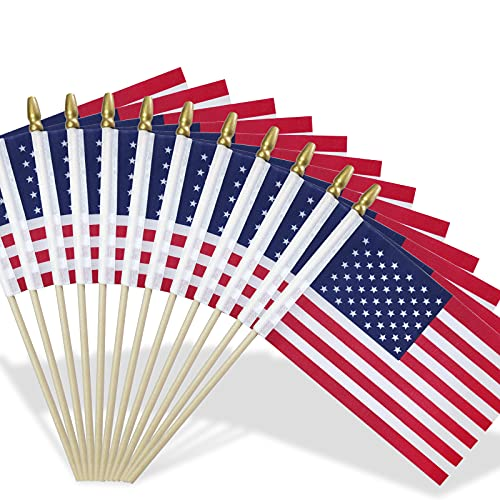 Lapogy Small/Mini American Flags on Stick 5x8 Inch Handheld American Flags US Flags 4th of july decor, patriotic Decorations, Veteran Party, Parades, American Hand Held Stick Flags Spear Top(12p)