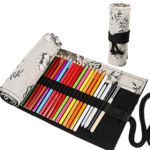 Ouceanwin Canvas Pencil Wrap, 72 gaten canvas pennenrol rol op rol, draagbaar tasje pennenetui etui voor kunstenaars…