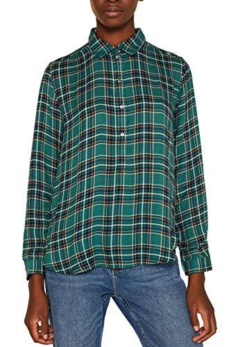 ESPRIT Damen 109Ee1F001 Bluse, Grün (Dark Teal Green 375), (Herstellergröße: 42)