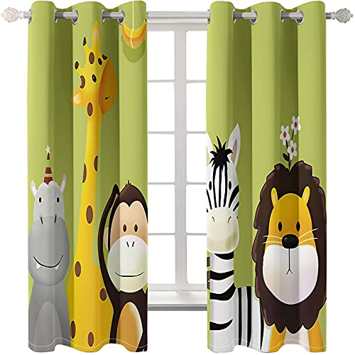 Children'S Room Cartoon Printing Curtains Easy Installation Free Perforated Blackout Curtain Study Balcony Bay Window
