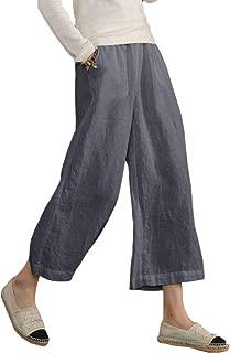Womens Casual Loose Elastic Waist Cotton Trouser Cropped Wide Leg Pants